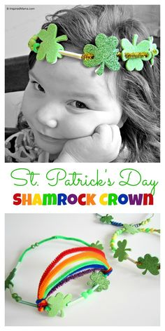 Have you done any St. Patrick's Day crafting yet? Try this simple St Patrick Craft for the kids: a fun and colorful Shamrock Crown made with pipe cleaners and beads.  Find out more at B-InspiredMama.com. holiday, craft crown, crowns, st patricks day, crafti idea, stpatrick, patrick craft, crafts, kid