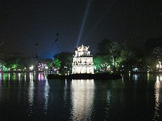 Turtle Tower, Hoan Kiem Lake at night, Hanoi, Vietnam Vietnam Travel, Hanoi Vietnam, Travel Tips, Travel Destinations, Blog Sites, Things To Do, Asia, Tower, Around The Worlds