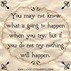 You may not know what is going to happen when you try, but if you do not try nothing will happen.