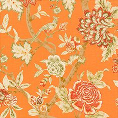 Pondicherry wallpaper & printed fabric in Orange from the Cypress Collection #Thibaut  #tangerinetango #chicflorals