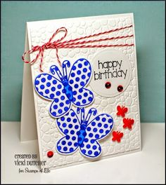 All I Do Is Stamp-- Designs by Vicki Dutcher Using TSOL Butterfly2stamp, Lady Bugs, Powered Sugar card stock, Red & White Twine and Flower Power Embossing folder.  I also used Strawberry and Blueberry ink!  The Stamps of Life carries a lot of products!