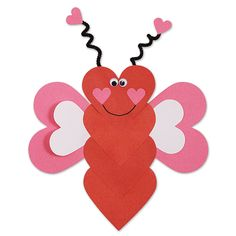 These love bugs will fly into your heart! They are the perfect kid's craft for Valentine's Day. These love bugs will fly into your heart! They are the perfect kid's craft for Valentine's Day. Preschool Valentine Crafts, Valentines Day Activities, Valentines For Kids, Homemade Valentines, Bug Crafts, Daycare Crafts, Valentine's Day Crafts For Kids, Toddler Crafts, Valentine's Cards For Kids