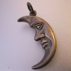 Vintage Crescent Man in the Moon with Face by BrightEyesTreasures, $15.00