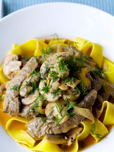 And tonight's dinner was Jamie Oliver's beef stroganoff, using veal instead of beef, with gluten free noodles. Mmm!!