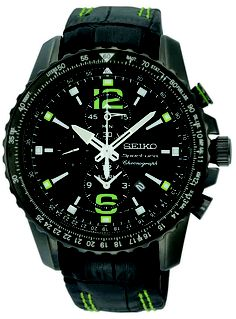 Seiko Sportura, Alarm Chronograph Watch, With leather strap and green accents, SNAE97 www.SeikoUSA.com
