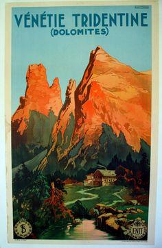 Vintage Travel Poster - Vénétie Tridentine -Italian Alps, Dolomites - 1920s by E. Bottaro.