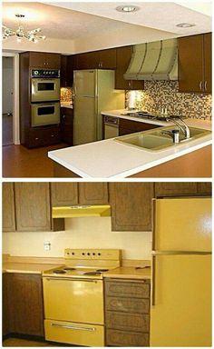 Avocado Green & Harvest Gold Appliances: my grandparents had an entire kitchen in avocado my whole childhood! 1970s Kitchen, Vintage Kitchen, Retro Kitchens, My Childhood Memories, Sweet Memories, 1980s Childhood, Retro Home Decor, Vintage Decor, Vintage Toys