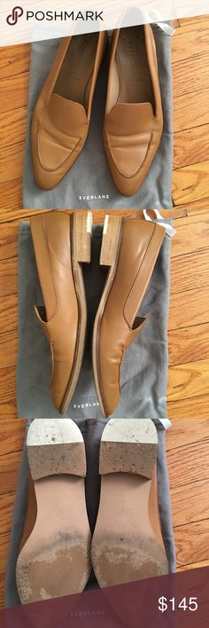 Everlane Modern Loafers in Camel size 10.5 Purchased these at the SF pop-up shop 18 months ago for $170 +tax. They are very lovely but I have come to terms that I need the size 11 (I'm normally a size 10 and the salesperson advised me to go up half a size). Worn 6/7 times. Gorgeous camel color. Come with Everlane shoe bag. Everlane Shoes