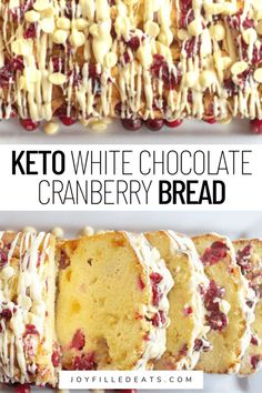 Get ready for holiday entertaining by making this incredible White Chocolate Cranberry Bread. It's so easy to make and is filled with plump fresh cranberries, creamy white chocolate chips, and the top is drizzled with melted chocolate and more cranberries. This quick bread happens to be keto, low-carb, gluten-free, and grain-free too.