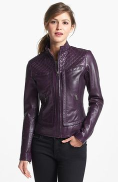 Bernardo Quilt Trim Leather Scuba Jacket (Online Only) available at #Nordstrom