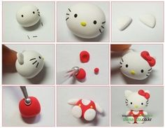 DIY fimo / clay / fondant little Hello Kitty >>> [crafts to make and sell] Bolo Da Hello Kitty, Hello Kitty Fondant, Chat Hello Kitty, Hello Kitty Birthday, Kitty Kitty, Diy Fimo, Fimo Clay, Polymer Clay Projects, Polymer Clay Creations