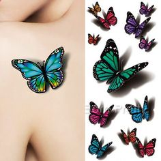 $0.99 1 Sheet 3D Butterfly Tattoo Decals Body Art Decal Flying Butterfly Waterproof Paper Temporary Tattoo - BornPrettyStore.com