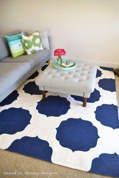 sarah m. dorsey designs: diy painted morrocan rug finished!!