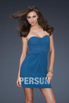 Schöne Blaues Herz Ausschnitt Etui Linie Kurz Abendkleider aus Chiffon Persunshop