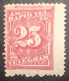 United States Telegraph Stamp American Rapid Telegraph Co. 25 c rose brown 1800's US Postage Stamp Photo by Stampbanker Christian Thomas Sutter