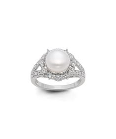 Cubic Zirconia & Pearl Bezel Cutout Ring | zulily