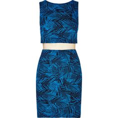 Bailey 44 Paradise Cove leaf-print jersey mini dress ($85) ❤ liked on Polyvore featuring dresses, bright blue, blue mini dress, short jersey dress, mesh insert dress, mini dress and short dresses