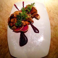 Grilled chicken hakurai turnips watermelon radish frill mustard greens prosciutto grilled radish pods smoked beet vinaigrette #bluehourpdx #chef #cheflife #gastronomia #theartofplating #truecooks #truecooksportland by cam.dunlap__
