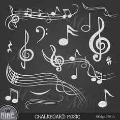 Chalkboard MUSIC NOTES Digital Clipart Musical Accent Clipart Design Elements, Instant Download, Chalk Accents Clip Art