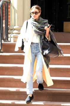 What Ashley Olsen Wears To A Meeting #refinery29 http://www.refinery29.com/2015/04/86192/ashley-olsen-white-coat-outfit