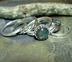 Labradorite Stacking Rings Set of 5 in Sterling by LavenderCottage, $92.00