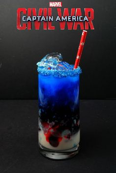Captain America Civil War - Trailer, Poster, and A Cocktail Too! - My Thoughts, Ideas, and Ramblings - Food: Veggie tables Liquor Drinks, Cocktail Drinks, Bourbon Drinks, Disney Cocktails, Alcohol Drink Recipes, Captain America Civil War, Non Alcoholic, Alcoholic Desserts, Mixed Drinks