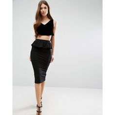 ASOS Pencil Skirt with Ruffle Peplum (1.660 RUB) ❤ liked on Polyvore featuring skirts, black, knee length pencil skirt, high-waisted pencil skirts, high-waisted skirts, peplum skirt and frilly skirt