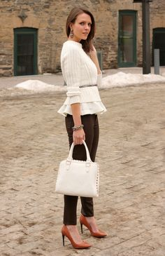 Ruffled In Cream from lolobu.com. Zara sweater, H&M blouse, Paige denim jeans, Forever 21 bag, DMSX pumps