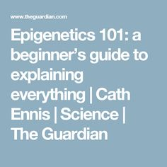 Epigenetics 101: a beginner's guide to explaining everything | Cath Ennis | Science | The Guardian