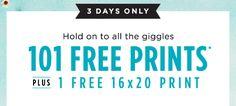 3 DAYS ONLY. 101 FREE PRINTS* PLUS 1 FREE 16X20 PRINT