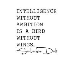 """Intelligence without ambition is a bird without wings"" -Salvador Dalí. Words Quotes, Me Quotes, Motivational Quotes, Inspirational Quotes, Sayings, The Words, Cool Words, Salvador Dali Quotes, Great Quotes"