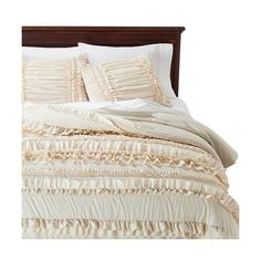 Lush Decor© Belle Ruffle 4 Piece Comforter Set - Ivory ($119) ❤ liked on Polyvore featuring home, bed & bath, bedding, comforters, ivory, king comforter set, california king comforter sets, california king bed comforter, california king size comforter and queen comforter set