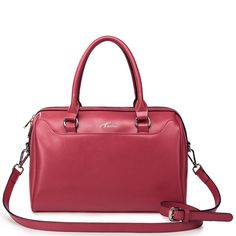Cowhide embroider line and boston bag, Color: Red, No.: 1170426-02