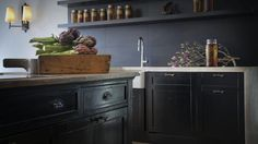 Patricia Stewart's kitchen includes a salvaged antique baker's shop counter.
