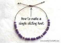 Como fazer um fecho ajustável silding nó de pulseiras ou colares com apenas um nó em vez de dois.  (Jóias livre fazendo tutorial em vídeo) por JessicaBarst