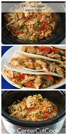 Slow Cooker Chicken Fajitas Recipe ~ Dump everything into the slow cooker, turn it on low, walk away and 8 hours later you have perfectly tender chicken fajitas