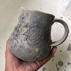 More one-of-a-kind mug fun happening in my clay room! #ilovemyjob #pottersofinstagram #potterylove #queenbeepottery #roses #roselove #mugshotmonday #workinprogress #flowergarden #rosegarden #floridapotter