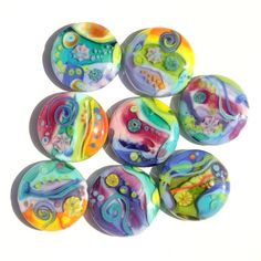 Gorgeous!! Primavera - Colorful Handmade Lampwork Glass Bead Set by Sarah Hornik