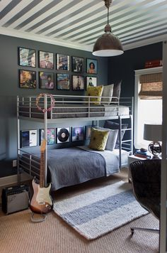 Sally Wheat Interiors - boy's rooms - Farrow & Ball - Down Pipe - gray, walls, metallic, white, silver, ceiling, bunk beds, blue, blanket, shams, yellow, pillows, jute, rug, layered, seagrass, rug, industrial, pendant, Prince, album, covers, art gallery,