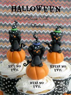 No Evil Black Cat: Halloween Cupcake Tutorial - Lynlee's