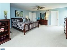 Beautiful baby blue and chocolate themed bedroom in Hatfield, PA #realestate