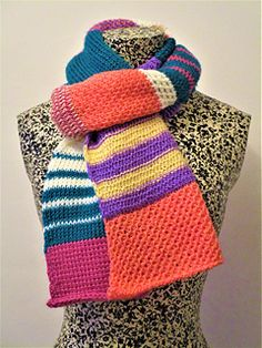 A fun and colourful Tunisian Crochet Scarf full of exciting stitches and techniques to inspire your interest in Tunisian Crochet. This Scarf is a window into the amazing world of Tunisian Crochet and shows what it is capable of.
