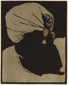 Alte Frau, woodcut with lithographic color, 1897