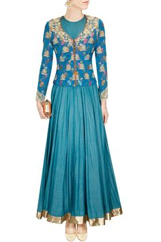 Blue floral brocade embroidered jacket available only at Pernia's Pop Up Shop.