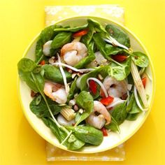 Warm Szechuan Shrimp and Spinach Salad Recipe from Taste of Home -- shared by Roxanne Chan of Albany, California  #quick