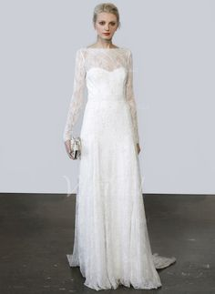 Wedding Dresses - $203.17 - A-Line/Princess Scoop Neck Sweep Train Lace Wedding Dress (0025057528)