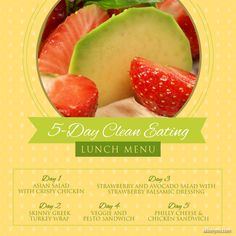 5 Day Clean Eating Lunch Menu--Eat clean for lunch! It's easier than you think :) #cleaneating #lunch #recipes