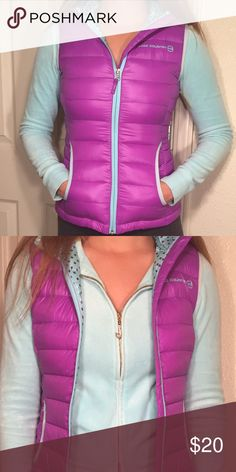 Hooded Free Country Vest! Purple with polka dots inside, down vest! Super comfortable! Size M (10/12)  in girls but definitely fits a size xs or small in women! Worn once. Free Country Jackets & Coats Vests