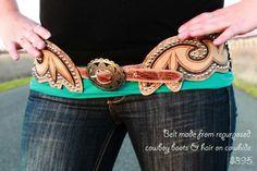 Repurposed cowboy boot belt