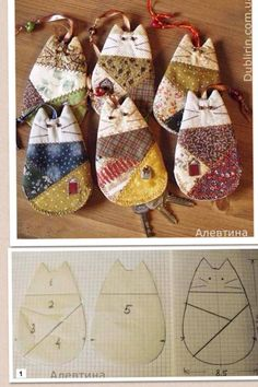 This looks like patchwork key holders but could be adapted for toys for small hands. (Or mug rugs)